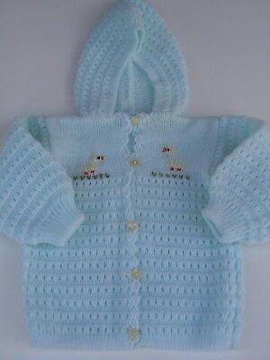 Vintage All Mine Turquoise Acrylic Knit Hooded Baby Sweater Chicks Portugal Teal