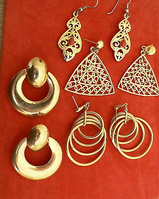Four Pairs Of Large  Vintage Gold Plated Earrings