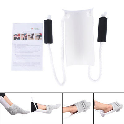 White Sock Stocking Aid With Foam Grip 31in Cord Puller Assist Disability Tool^^