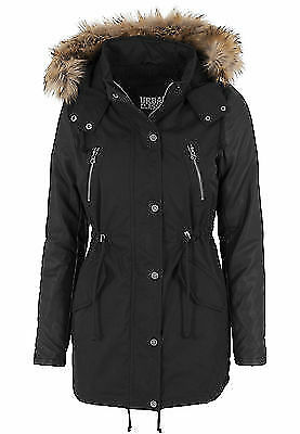 Urban Classics TB1091 Ladies Leather Imitation Sleeve Parka Donna Streetwear