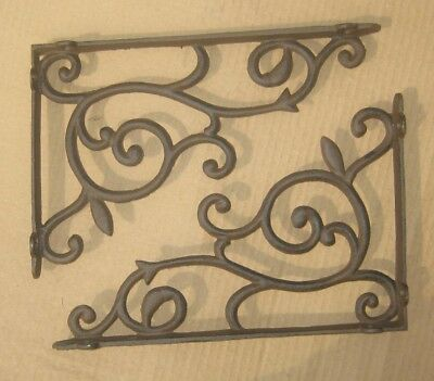 set of 2 LARGE antique style Cast Iron Decorative Scroll Shelf Brackets #68