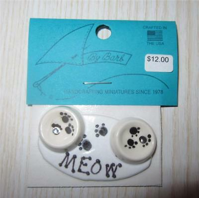 Miniature Dollhouse 1:12 Scale Cat Food & Water Bowls On Mat - Barb3A