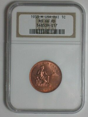 1933 Philippines One Centavo - United States - Ngc Certified Ms 66 Red