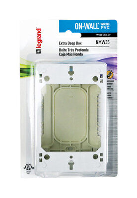 Wiremold  1-3/4 in. H Rectangle  Outlet Box  White  Plastic