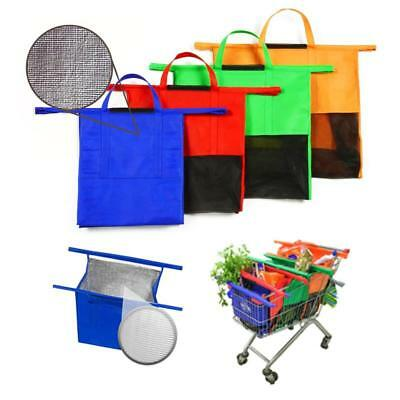 4 Detachable Reusable Shopping Grocery Cart Storage Bags with insulated Cold bag