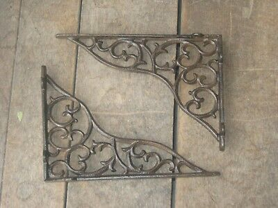 set of 2 antique style Cast Iron Decorative Shelf Brackets #22
