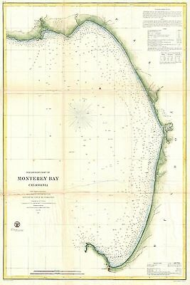 1857 Coastal Survey Map Nautical Chart of Monterey Bay California