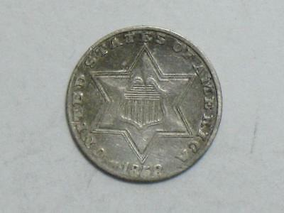 1858 Three Cents Silver Trime - United States Coin 3 Cent Piece