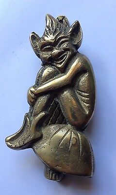 Vintage Pixie Imp Brass Door Knocker