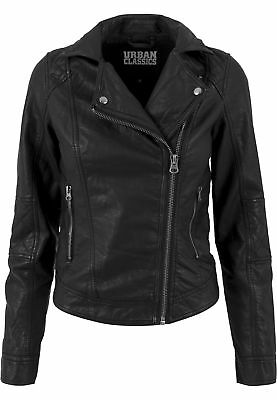 Ladies Leather Imitation Biker Jacket Urban Classics Streetwear Giacca Bomber