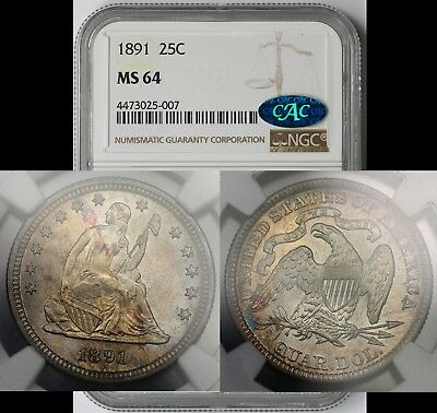 1891 Liberty Seated Quarter 25C MS 64 NGC CAC Approved Toned