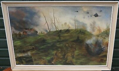 Very Large White Framed Painting On Board Of A Battle Scene By Blackburn