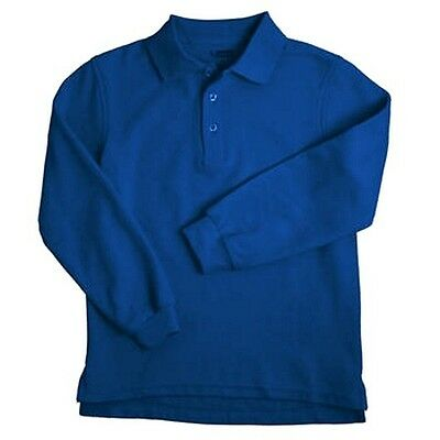 Royal Blue Long Sleeve Polo Shirt 18H Unisex French Toast School Uniforms New