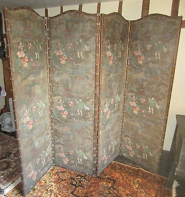 Antique Decorated Six Panel Folding Screen (see details)