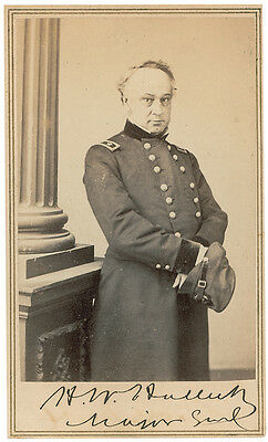 Henry W. Halleck CDV Photo Signed - Civil War - Great Autographed Image