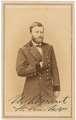 President U.S. Grant CDV Photo Signed - Civil War - Great Autographed Image