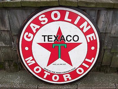Texaco Gas Gasoline Filling Station Motor Oil Ad Advertising Metal Sign Large 30