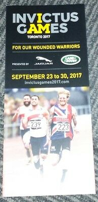 2017 Invictus Games Official Schedule TORONTO Prince Harry RARE ENGLISH