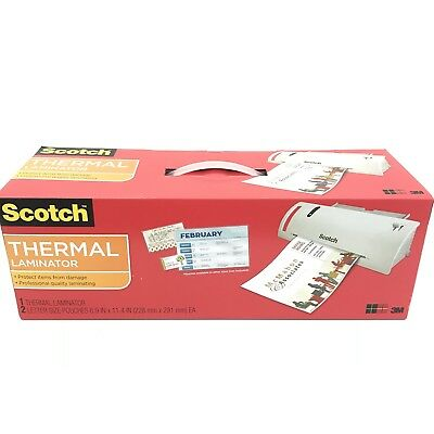 """3M Scotch Thermal Laminator TL902 With 2 Letter Size Pouches Up to 9"""" Wide NEW"""