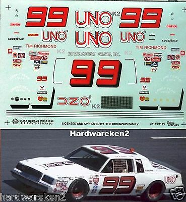 Nascar Decal #99 Uno 1981 Buick Regal Tim Richmond Slixx