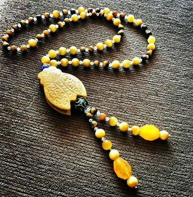 Hespera Designs Sacred Scarab Tiger's Eye & Condor Agate Nephrite Jade Necklace