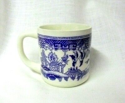 Vintage Blue Willow Blue White Birds Houses Trees Ceramic Cup Mug USA