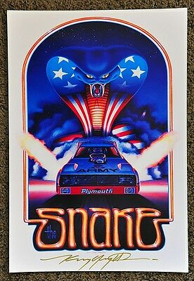 New Kenny Youngblood Signed The Snake '79 Don Pruhdomme Funny Car Army Print