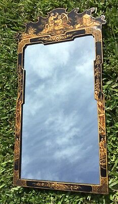 RARE VinTagE CHINOISERIE HAND PAINTED BLACK LAQUER WALL MIRROR w FIGURES