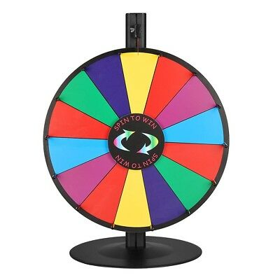"WinSpin™ 18"" Tabletop Color Prize Wheel of Fortune 14 Slot Steel Base Spin Game"