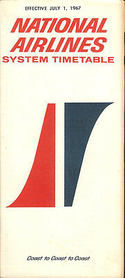 National Airlines system timetable 7/1/67 [5061]