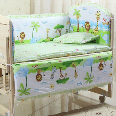 5pcs Cotton Baby Crib Cot Bedding Set Quilt Bumper Sheet Dust Ruffle