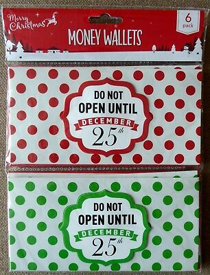 Christmas Money Wallets / Cards Two Designs Pack of Six Free UK P& P