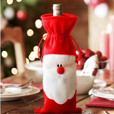 Xmas Santa Claus Red Wine Bottle Cover Bags Dinner Party Table Christmas Decor
