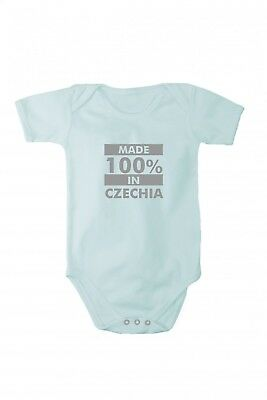 Baby bodysuit with shining silver print Made in Czechia