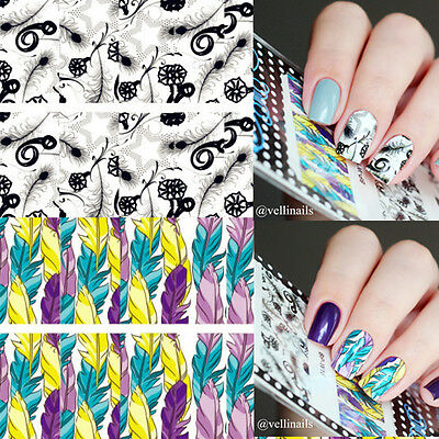2Pcs Feather Star Nail Art Water Decals Transfer Stickers Decoration BORN PRETTY