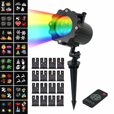 Remote 16 Pattern LED Moving Projector Landscape Stage Light Party Xmas Outdoor