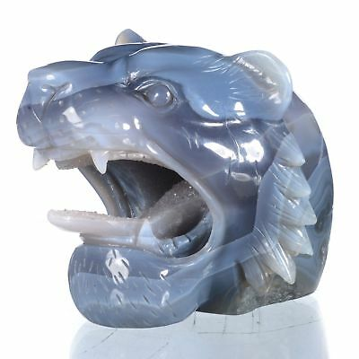 """4.33""""Natural Geode Agate Tiger Head Carving ,Collectibles#AU70"""