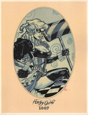 Michael Dooney SIGNED DC Comics Batman Joker Sepia Art Print ~ 1887 Harley Quinn