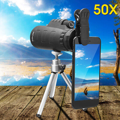 50X HD Zoom Monocular Night Vision Telescope + Clip + Tripod For Mobile Phone
