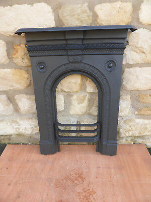 Victorian Cast Iron Fireplace Front with Mantle, Bars + Fixing Lugs. Original