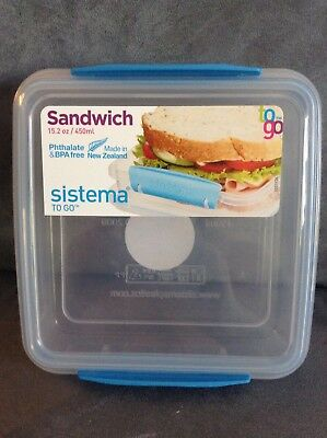 Sistema Reusable Sandwich Container 15.2 Oz - Clear And Blue - Brand New