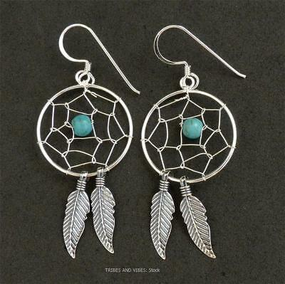 Dream Catcher Earrings 925 Sterling Silver Turquoise Crystal bead Jewellery NEW