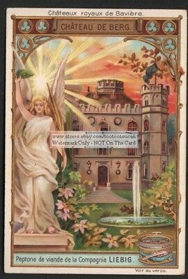 German Bavarian Castles - Schloss Berg c1898 Ad Trade Card