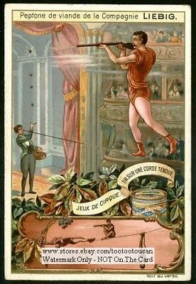 Circus Shooting A Gun Highwire Act NICE c1899 Trade Ad Card