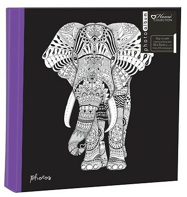 "Zen Elephant Large 6"" x 4'' 200 Photos Slipin Photo Album with Memo Area"