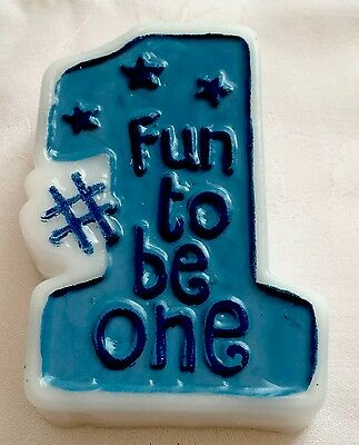 """Boy's 1 / 1st Birthday Moulded Candle Amscan Cake Party """"FUN TO BE ONE"""" Blue"""