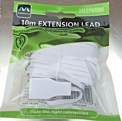 10M Telephone Extension Lead Fax Modem Answer Machine Home Office By Masterplug