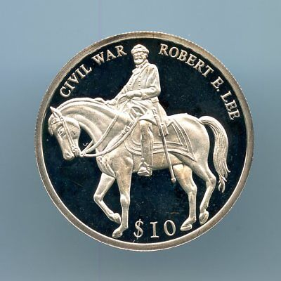 "Liberia ~ 2000 ~ $10 ~ ""robert E. Lee"" ~ Silver ~ Proof"