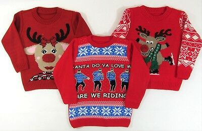Kids Childrens Girls Boys Jumper Sweater Reindeer Christmas Novelty Xmas 3 12 Y