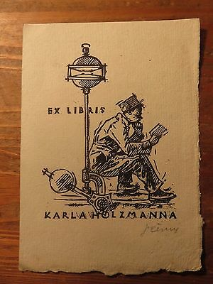 Vintage Ex Libris  for Karl Holzmann,signed